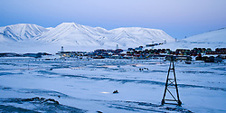 View on Longyearbyen at Svalbard.