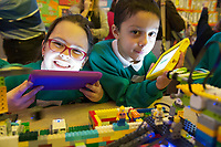 REPRO FREE:   Nina Wyas and Adill Prochownik Mohammed from Merlin Woods NS at the Junior FIRST Lego League run by Galway Education Centre, in Galmont Hotel &amp; Spa.<br />  Photo: Andrew Downes, XPOSURE