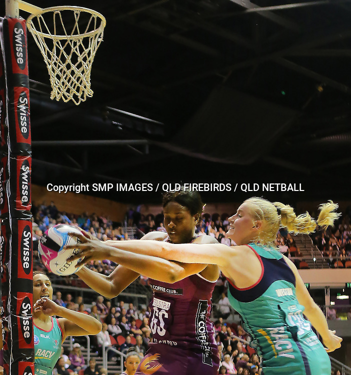 ROMELDA AIKEN (QLD FIREBIRDS) PHOTO: SMP IMAGES / QLD FIREBIRDS MEDIA - 7th May 2016 - Action from the 2016 ANZ Championships Round 6 clash between the Queensland Firebirds v Northern Mystics played at the Queensland Convention Centre, Brisbane], Australia.<br /> Photo: SMP IMAGES / FIREBIRD MEDIA