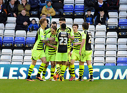 Yeovil Town's James Hayter celebrates his second goal with team mates. - Photo mandatory by-line: Dougie Allward/JMP - Tel: Mobile: 07966 386802 18/01/2014 - SPORT - FOOTBALL - St Andrew's Stadium - Birmingham - Birmingham City v Yeovil Town - Sky Bet Championship