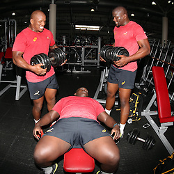 DURBAN, SOUTH AFRICA - OCTOBER 03: Left to right Bongi Mbonambi -Trevor Nyakane and Oupa Mohoje during the South African national rugby team gym session at Virgin Active La Lucia on October 03, 2016 in Durban, South Africa. (Photo by Steve Haag/Gallo Images)