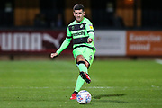 Forest Green Rovers Lloyd James(4) passes the ball forward during the EFL Sky Bet League 2 match between Cambridge United and Forest Green Rovers at the Cambs Glass Stadium, Cambridge, England on 2 October 2018.
