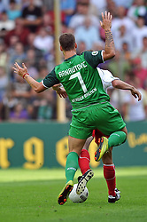 14.08.2010, Wersestadion, Ahlen, GER, Rot Weiss Ahlen vs Werder Bremen 0:4, DFB Pokal 1. Runde,  1. FBL 2010, im Bild Aaron Hunt ( Werder #14 ) - Marcel Busch ( Ahlen #02 ). EXPA Pictures © 2010, PhotoCredit: EXPA/ nph/  Kurth+++++ ATTENTION - OUT OF GER +++++ / SPORTIDA PHOTO AGENCY