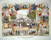 Print of celebration on 19th May 1970 of the Fifteenth Amendment to the United States Constitution of the United States, enacted 30 March 1870, giving right to vote to all free citizens regardless of colour. America