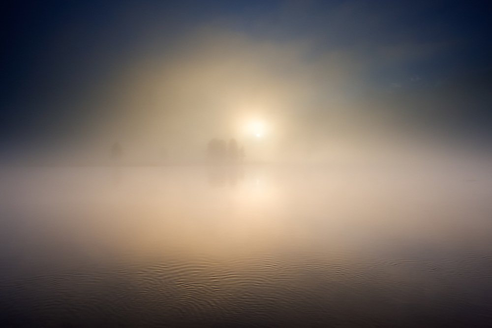 The sun rises through the fog on the Hayden River in Wyoming.