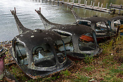 Decaying old swan pedal boats on Lake Chuzenji (Chuzenjiko), a scenic lake in the mountains above the town of Nikko, in Tochigi Prefecture, Japan. It's at the foot of Mount Nantai, Nikko's sacred volcano, whose eruption blocked the valley below, thereby creating Lake Chuzenji 20,000 years ago. Chuzenjiko's shores are mostly undeveloped and forested except at the eastern end where the growing hot spring town of Chuzenjiko Onsen was built. Chuzenjiko is especially beautiful in mid to late October, when the autumn colors reach their peak along the lake's shores and surrounding mountains. See panoramic views of Lake Chuzenji along the Chuzenjiko Skyline, an eight kilometer long former toll road accessible by bus or car, which also connects to scenic hiking trails.
