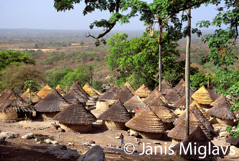 The traditional remote village called Andyel (sometimes Andjel) of the indigenous Bedik tribe overlooks the flat plains of southeastern Senegal, West Africa.