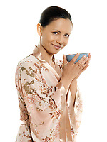 drinking hot drink tea woman asian on isolated white background