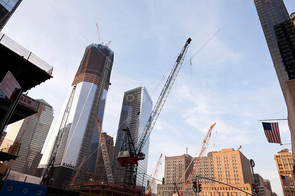 The building of the Freedom Tower and surrounding buildings in the area in lower Manhattan