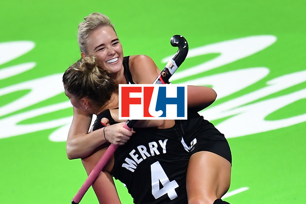 New Zealand's players celebrates scoring a goal during the women's field hockey China vs New Zealand match of the Rio 2016 Olympics Games at the Olympic Hockey Centre in Rio de Janeiro on August, 13 2016. / AFP / MANAN VATSYAYANA        (Photo credit should read MANAN VATSYAYANA/AFP/Getty Images)