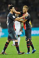 FOOTBALL - FRENCH CHAMPIONSHIP 2011/2012 - L1 - PARIS SAINT GERMAIN v OGC NICE - 21/09/2011 - PHOTO GUY JEFFROY / DPPI - JAVIER PASTORE / JEREMY MENEZ (PSG)