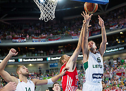 Luka Zoric #14 of Croatia vs Mantas Kalnietis #5 of Lithuania during basketball match between National teams of Lithuania and Croatia in Semifinals at Day 17 of Eurobasket 2013 on September 20, 2013 in Arena Stozice, Ljubljana, Slovenia. (Photo by Vid Ponikvar / Sportida.com)