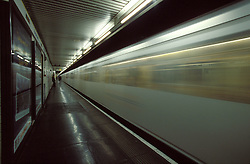 UK ENGLAND LONDON OCT98 - A London Underground Train zooms out of Blackfriars station during rush-hour.  ..The London Underground is a rapid transit system serving a large part of Greater London and neighbouring areas of Essex, Hertfordshire and Buckinghamshire in the UK. The Underground has 270 stations and about 400 km of track, making it the longest metro system in the world by route length; it also has one of the highest number of stations and transports over three million passengers daily..jre/Photo by Jiri Rezac..© Jiri Rezac 1998