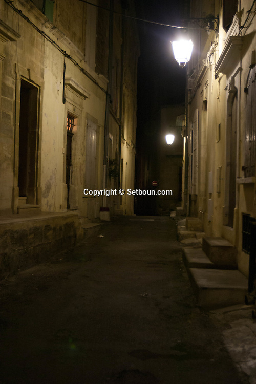 France. Bouches du Rhone.Arles the old city at night  France