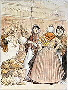 Market women discussing the merits of cauliflowers. In left background a porter is carrying a stack of baskets or 'strikes' on his head. Covent Garden fruit and vegetable market, London. Early 20th century pen and wash.