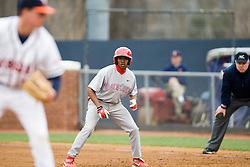 Radford Highlanders Tyren Rivers (2) takes a lead off first base.  The #16 ranked Virginia Cavaliers baseball team defeated the Radford Highlanders 8-2 at the University of Virginia's Davenport Field in Charlottesville, VA on March 11, 2008.