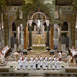 4 JUNE 2016 -- ST. LOUIS -- Deacons to be Ordained gather for the Litany of Supplication during the Ordination of Deacons at the Cathedral Basilica of St. Louis Saturday, June 4, 2016 in St. Louis. Eighteen men from across the Archdiocese were ordained.<br /> <br /> Photo by Sid Hastings.