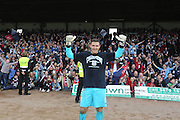 Kyle Letheren celebrates - Dundee v Dumbarton, SPFL Championship, Helicopter Saturday at Dens Park<br /> <br />  - &copy; David Young - www.davidyoungphoto.co.uk - email: davidyoungphoto@gmail.com
