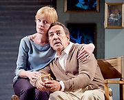 Prism <br /> by Terry Johnson <br /> at Hampstead Theatre, London, Great Britain <br /> press photocall <br /> 11th September 2017 <br /> <br /> <br /> Robert Lindsay as Jack Cardiff <br /> <br /> <br /> <br /> Claire Skinner as Nicola <br /> <br /> Designed by Tim Shortall<br /> Lighting by Ben Ormerod<br /> Sound by John Leonard <br /> Casting by Suzanne Crowley and Gilly Poole <br /> <br /> <br /> Photograph by Elliott Franks <br /> Image licensed to Elliott Franks Photography Services