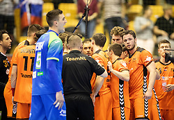 Players of Netherlands during handball match between National teams of Slovenia and Netherlands in Qualifications of 2020 Men's EHF EURO, on April 14, 2019, in Arena Zlatorog, Celje, Slovenia. Photo by Vid Ponikvar / Sportida