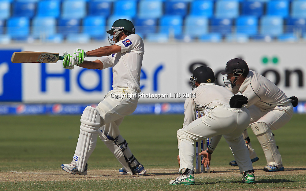 Pakistan vs New Zealand, 19 November 2014 <br /> Younis Khan plays a shot on the third day of second test in Dubai