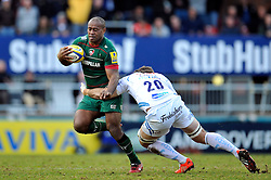 Seremaia Bai of Leicester Tigers is tackled by Kai Horstmann of Exeter Chiefs - Photo mandatory by-line: Patrick Khachfe/JMP - Mobile: 07966 386802 28/03/2015 - SPORT - RUGBY UNION - Leicester - Welford Road - Leicester Tigers v Exeter Chiefs - Aviva Premiership