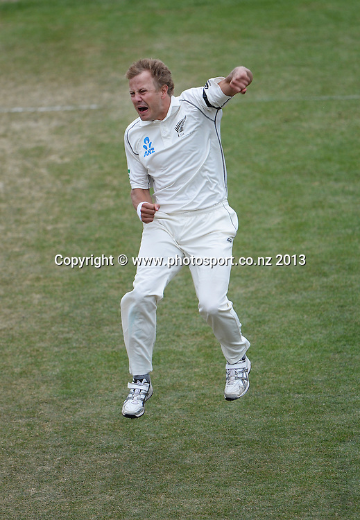 Neil Wagner celebrates the wicket of Shane Shillingford on Day 5 of the 1st cricket test match of the ANZ Test Series. New Zealand Black Caps v West Indies at University Oval in Dunedin. Saturday 7 December 2013. Photo: Andrew Cornaga/www.Photosport.co.nz