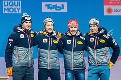 02.03.2019, Seefeld, AUT, FIS Weltmeisterschaften Ski Nordisch, Seefeld 2019, Siegerehrung, im Bild Bronzemedaillengewinner Bernhard Gruber (AUT), Mario Seidl (AUT), Franz-Josef Rehrl (AUT), Lukas Klapfer (AUT) // Bronce medalist Bernhard Gruber Mario Seidl Franz-Josef Rehrl Lukas Klapfer of Austria during the winner Ceremony for the FIS Nordic Ski World Championships 2019. Seefeld, Austria on 2019/03/02. EXPA Pictures © 2019, PhotoCredit: EXPA/ Stefan Adelsberger