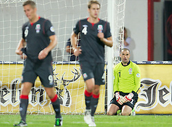 NOVI SAD, SERBIA - Tuesday, September 11, 2012: Wales' goalkeeper Boaz Myhill looks dejected as Serbia score the opening goal during the 2014 FIFA World Cup Brazil Qualifying Group A match at the Karadorde Stadium. (Pic by David Rawcliffe/Propaganda)