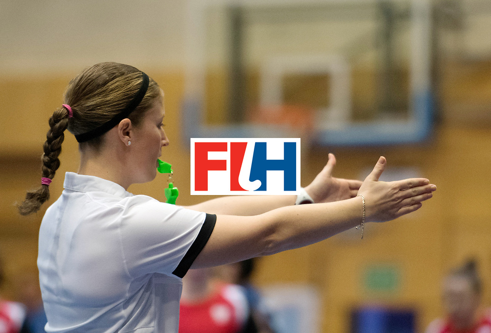 BERLIN - Indoor Hockey World Cup<br /> Belarus - Poland<br /> foto: Umpire Maddie Giddens<br /> WORLDSPORTPICS COPYRIGHT FRANK UIJLENBROEK