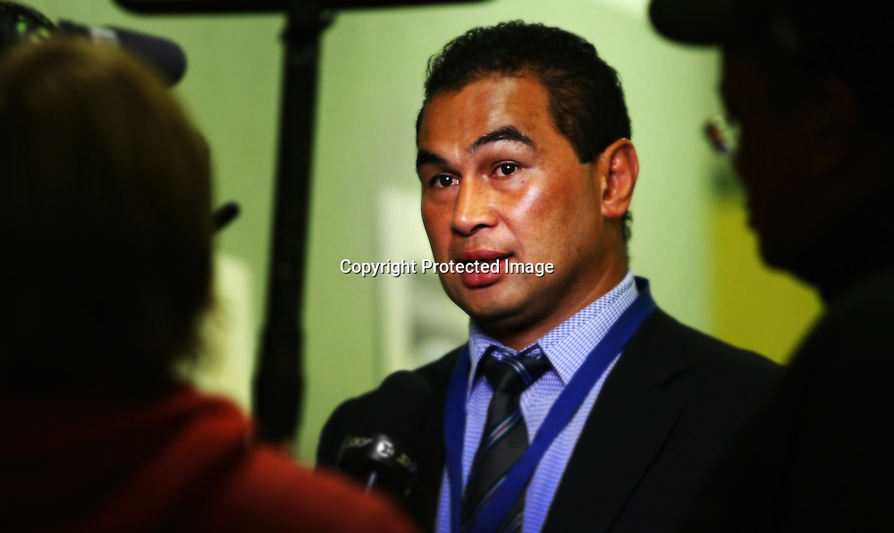 Blues coach Pat Lam gives a pre-match interview before their Super Rugby match, Hurricanes v Blues, Westpac stadium, Wellington, New Zealand. Friday 4 May 2012.  PHOTO: Grant Down / photosport.co.nz