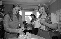 Counting the teabags Ellington Miners Support Group, Ashington. 06/12/1984.