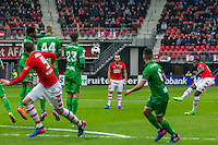 ALKMAAR - 26-02-2017, AZ - PEC Zwolle, AFAS Stadion, AZ speler Derrick Luckassen vrije trap.