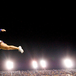November 10, 2012; Baton Rouge, LA, USA; A LSU Tigers cheerleader is thrown into the air during the second half of a game against the Mississippi State Bulldogs at Tiger Stadium.  LSU defeated Mississippi State 37-17. Mandatory Credit: Derick E. Hingle-US PRESSWIRE