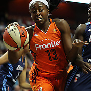 UNCASVILLE, CONNECTICUT- JUNE 3:  Chiney Ogwumike #13 of the Connecticut Sun in action during the Atlanta Dream Vs Connecticut Sun, WNBA regular season game at Mohegan Sun Arena on June 3, 2016 in Uncasville, Connecticut. (Photo by Tim Clayton/Corbis via Getty Images)