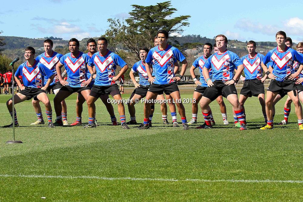 Southland Boys  Haka proir to the match, Rotorua Boys High v Southland Boys High School, National Secondary Schools Rugby League Tournament, Day 1, Bruce Pulman Park, Auckland, 2 September 2013. Photo: David Joseph / photosport.co.nz