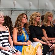 NLD/Amsterdam/20130907 - Modeshow najaar Mart Visser 2013, Monique des Bouvrie, Quinty Trustfull, Dahne Deckers en vriendin