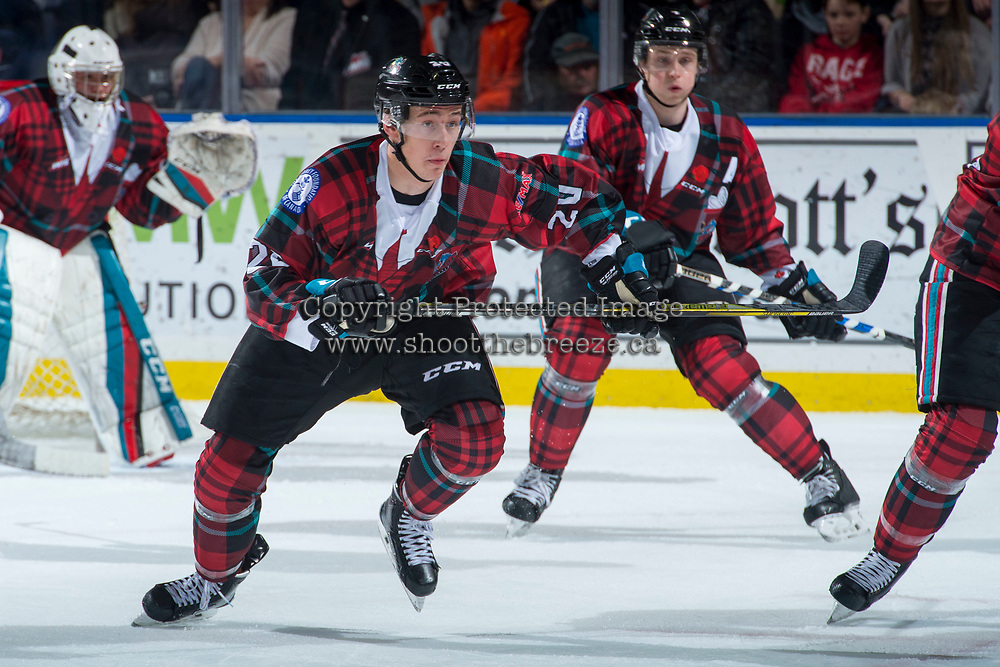 KELOWNA, CANADA - MARCH 10:  Conner Bruggen-Cate #20 of the Kelowna Rockets skates against the Kamloops Blazers on March 10, 2018 at Prospera Place in Kelowna, British Columbia, Canada.  (Photo by Marissa Baecker/Shoot the Breeze)  *** Local Caption ***