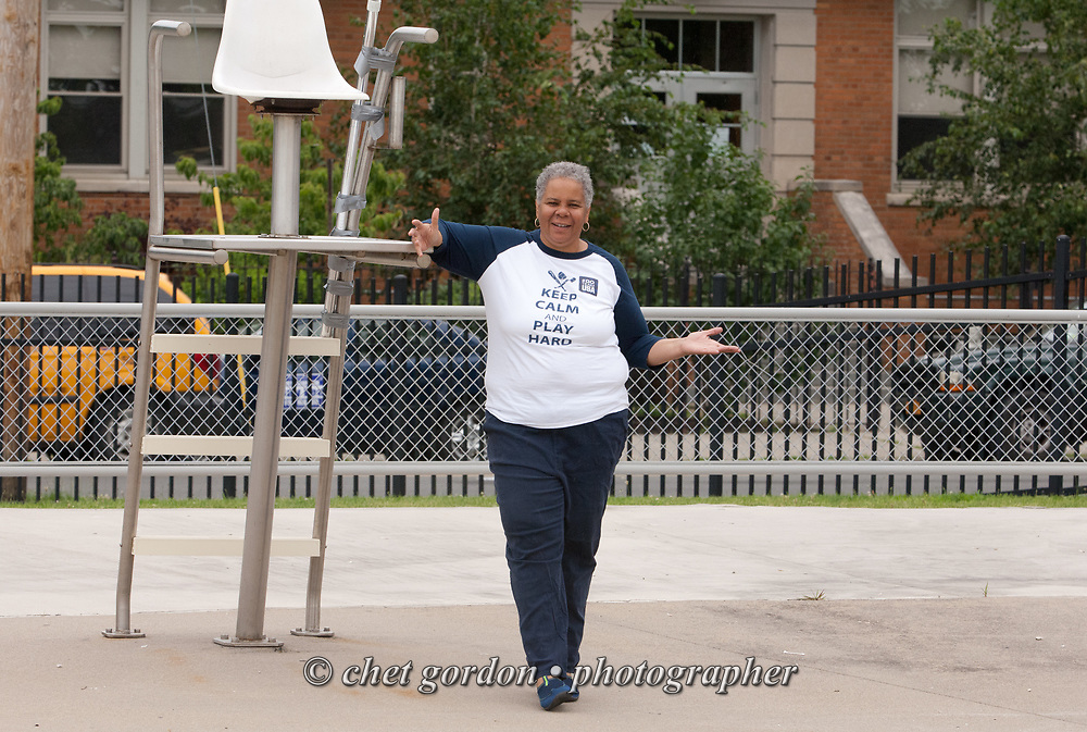 City of Newburgh Councilwoman Gay Lee during Olympic Day at the Newburgh Aquatic Center in Newburgh, NY on Saturday, June 27, 2015. Lee has begun her campaign bid for mayor of Orange County's largest city against incumbent Mayor Judy Kennedy, and Jonathan Jacobson, the former Orange County and Newburgh Democratic Committee Chairman.  © Chet Gordon • Photographer