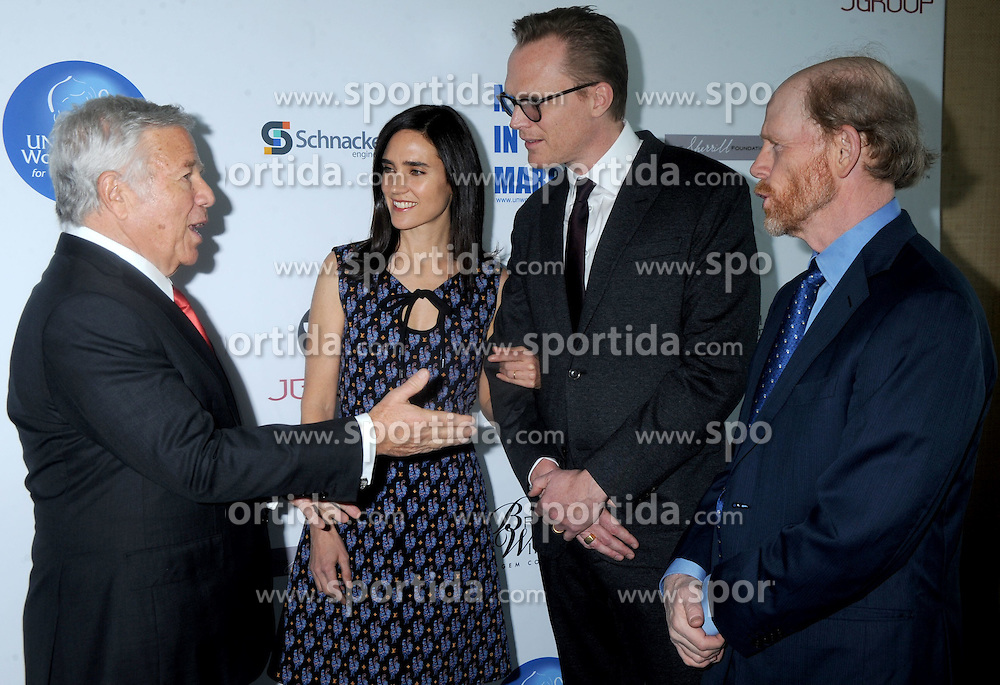 Robert Kraft, Jennifer Connelly, Paul Bettany, and Ron Howard attend the UN Women For Peace Association International Women's Day Celebration at UN Delegates Dining Room and Terrace on March 6, 2015 in New York City. EXPA Pictures &copy; 2015, PhotoCredit: EXPA/ Photoshot/ Dennis Van Tine<br /> <br /> *****ATTENTION - for AUT, SLO, CRO, SRB, BIH, MAZ only*****