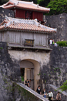 Although much of Shuri Castle, Naha, Okinawa, Japan was destroyed during the Second World War, many of the entrance gates are in their original state.