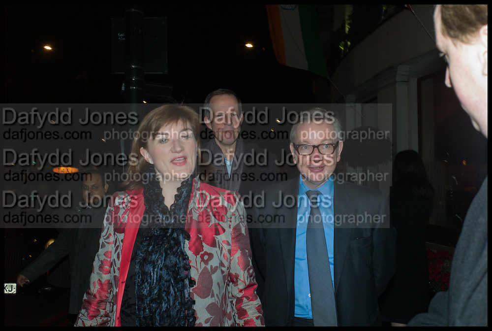 NICKY MORGAN; NICK BOLES; MICHAEL GOVE,;  Conservative Party Black and White Ball fundraiser 2015, Grosvenor House. Park Lane, London. 9 February 2015