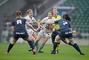Twickenham, Surrey. UK. Lara GIBSON, go's for the gap between [L], Sophie BEHAN and Caitlin McARDLE, during the 2017 Women's Varsity Rugby Match, Oxford vs Cambridge Universities. RFU Stadium, Twickenham. Surrey, England.<br /> <br /> Thursday  07.12.17  <br /> <br /> [Mandatory Credit Peter SPURRIER/Intersport Images]