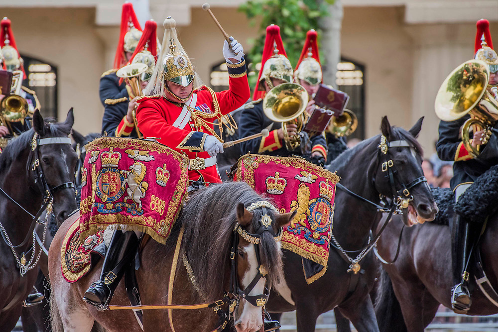 The mounted bands of teh Household Cavalry - Colonel's Review 2018, the last formal inspection of the Household Division before The Queen's Birthday Parade, more popularly known as Trooping the Colour. The Coldstream Guards Troop Their Colour and their Regimental Colonel, Lieutenant General Sir James Jeffrey Corfield Bucknall, takes the salute.