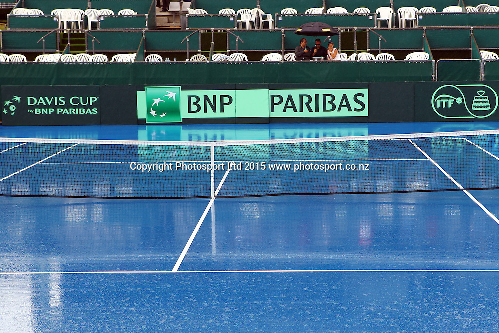 Rain delays play, BNP Paribas Davis Cup Tie, New Zealand v China Singles, Jose Statham v Di Wu, ASB Tennis centre, Auckland. 6 March 2015. Photo: William Booth / www.photosport.co.nz