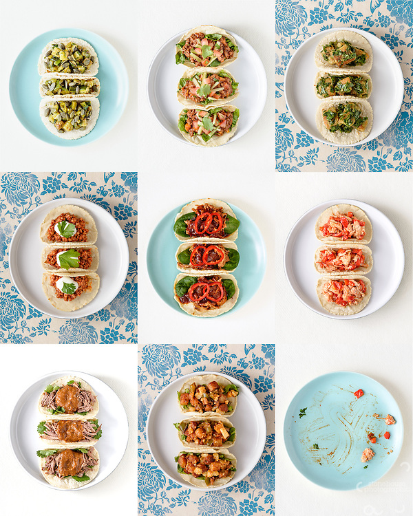Composite of tacos for 'Our House For Tea' low-FODMAP family cook book.