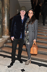CHRIS EVANS and his wife NATASHA at a private view to celebrate the opening of the Royal Academy's exhibition of work by David Hockney held at The Royal Academy, Burlington House, Piccadilly, London on 17th January 2012.