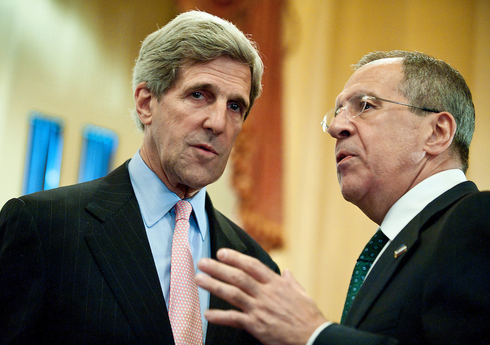 June 24, 2010 - Washington, District of Columbia, U.S., - Senator John Kerry speaks with Russian Foreign Minister Sergey Lavrov at the U.S. Capitol on Thursday. (Credit Image: © Pete Marovich/ZUMA Press)