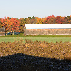 A tobacco barn on a farm in Whatley, Massachusetts.