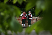 Thaxted Morris Weekend 3-4 June 2017<br /> A meeting of member clubs of the Morris Ring celebrating the 90th anniversary of the founding of the Thaxted Morris Dancing side or team in Thaxted, North West Essex, England UK. <br /> Musicians from Claro side at The Horse and Groom pub at Cornish Hall End, Essex.<br /> Hundred of Morris dancers from the UK and this year the Silkeborg side from Denmark spend most of Saturday dance outside pubs in nearby villages where much beer is consumed. In the late afternoon all the sides congregate in Thaxted where massed dancing is perfomed along Town Street. As darkness falls across Thaxted the spell binding Abbots Bromley Horn Dance is performed to the sound of a solo violin in the dark.